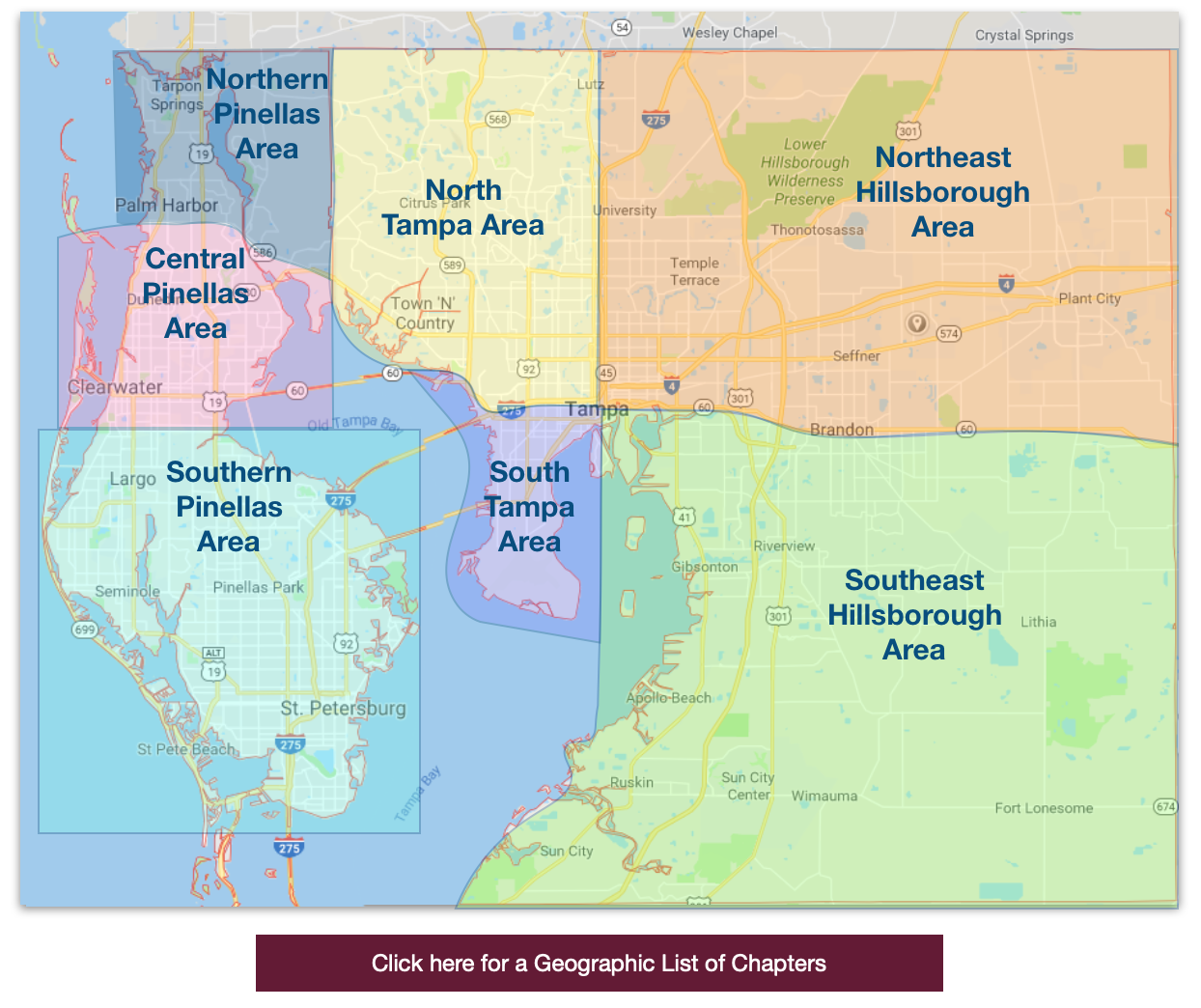 BNI Tampa Bay Region region serves Tampa, Clearwater, St. Pete, St. Petersburg, New Tampa, Brandon, Fishhawk within Hillsborough County and Pinellas County.